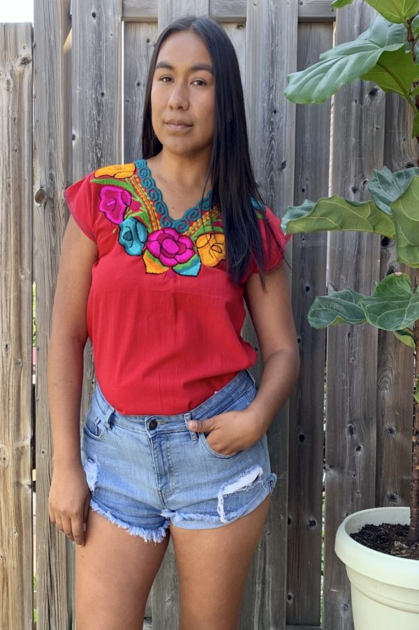 floral embroidered top red