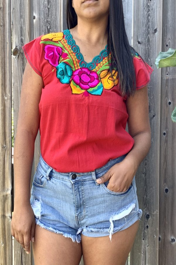 floral embroidered top closeup