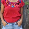 shilango floral embroidered top in cherry colour