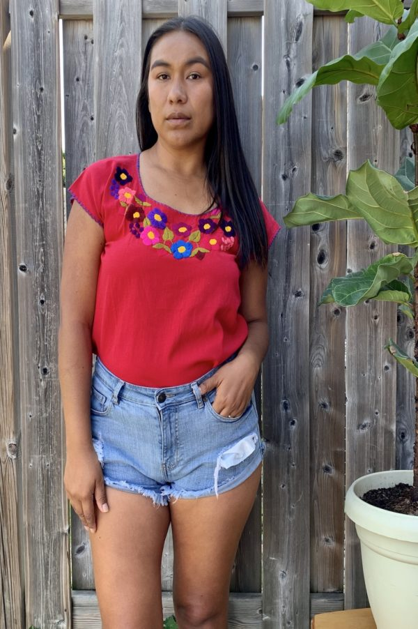floral embroidered top cherry