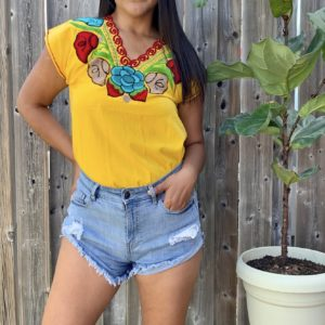 shilango floral embroidered top sunshine