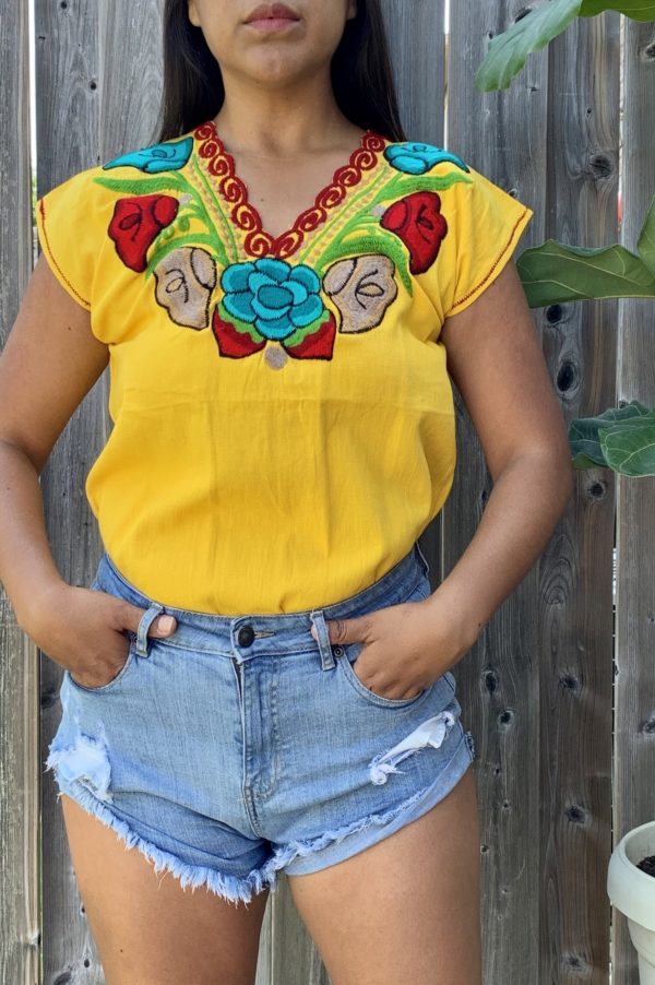 shilango floral embroidered top in yellow