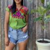 shilango floral embroidered top in green
