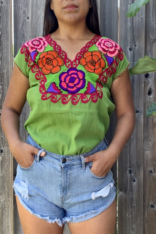shilango floral embroidered top green