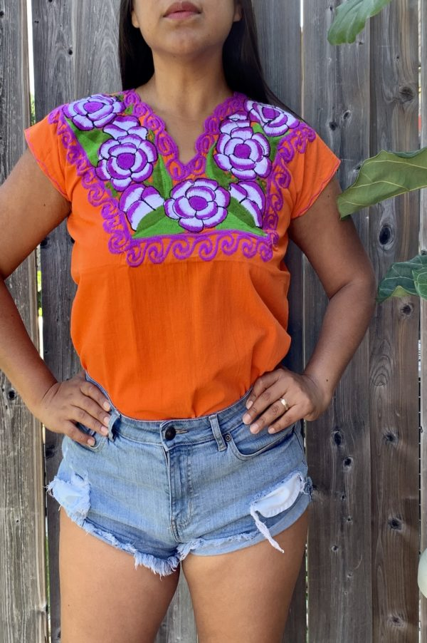 orange floral embroidered top closeup by shilang