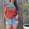 brown floral embroidered top by shilango